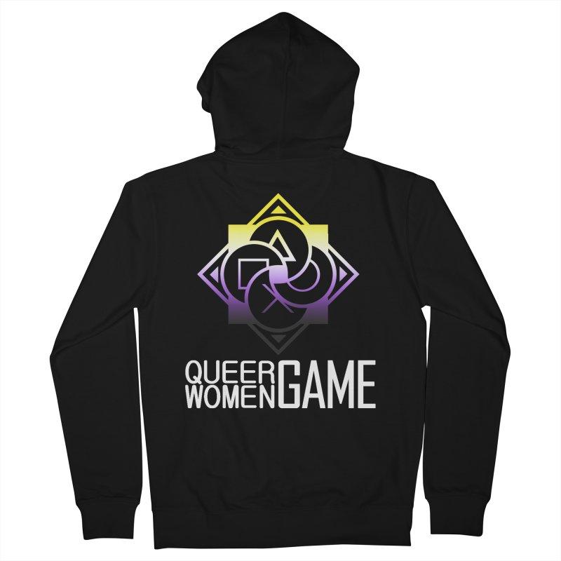 Logo & Text - Nonbinary Pride Men's Zip-Up Hoody by Queer Women Game Loot