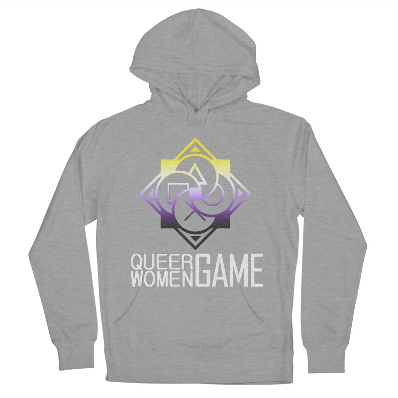 Logo & Text - Nonbinary Pride Women's French Terry Pullover Hoody by Queer Women Game Loot