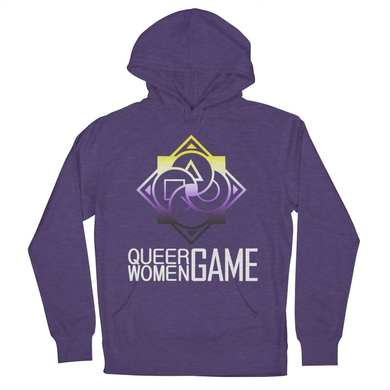 Logo & Text - Nonbinary Pride Men's French Terry Pullover Hoody by Queer Women Game Loot