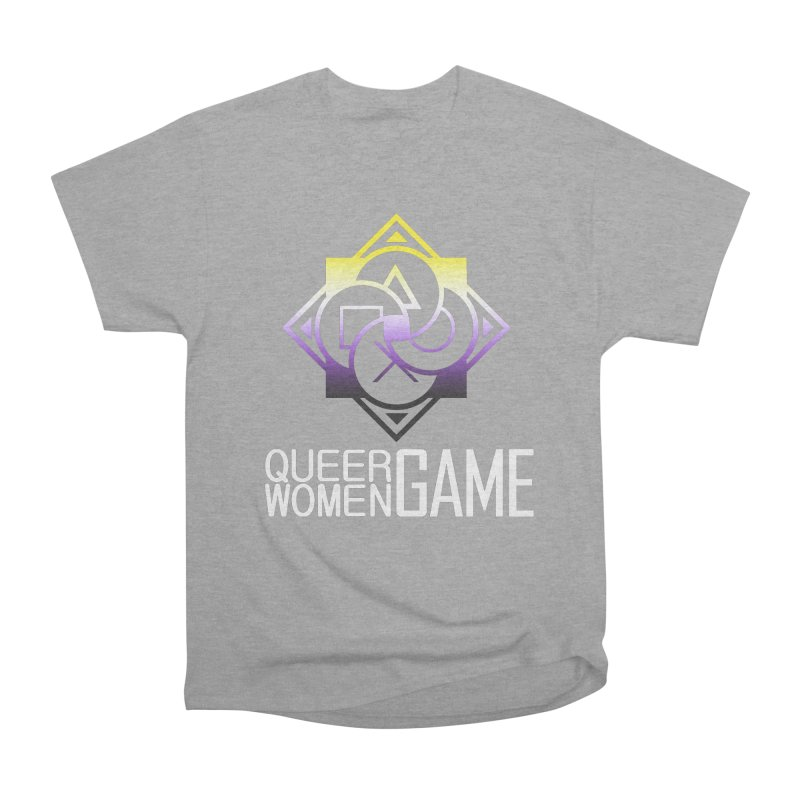 Logo & Text - Nonbinary Pride Women's Heavyweight Unisex T-Shirt by Queer Women Game Loot