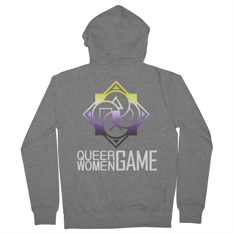 Logo & Text - Nonbinary Pride Women's French Terry Zip-Up Hoody by Queer Women Game Loot