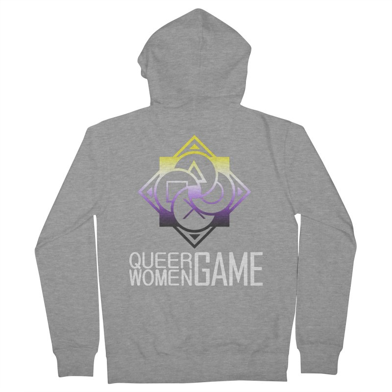 Logo & Text - Nonbinary Pride Men's French Terry Zip-Up Hoody by Queer Women Game Loot