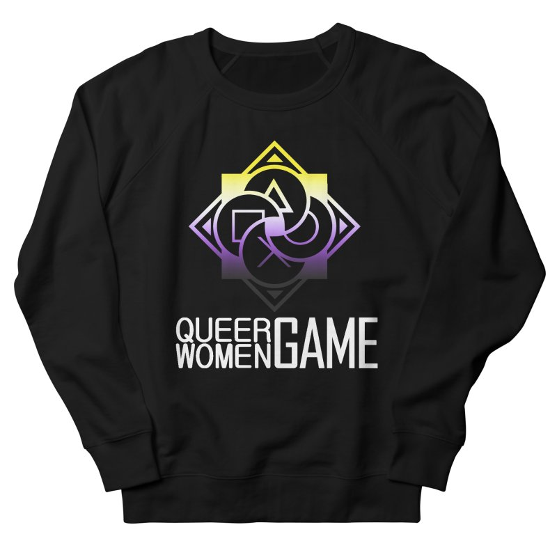 Logo & Text - Nonbinary Pride Women's French Terry Sweatshirt by Queer Women Game Loot