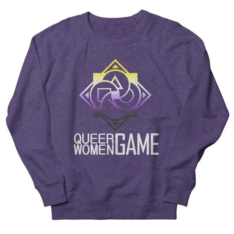 Logo & Text - Nonbinary Pride Men's French Terry Sweatshirt by Queer Women Game Loot