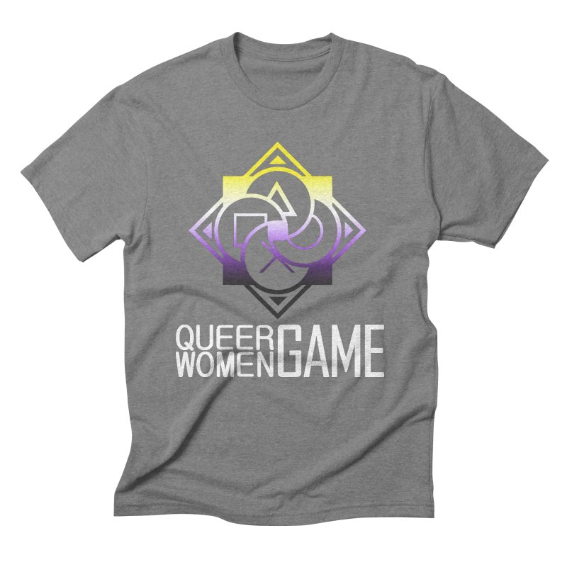 Logo & Text - Nonbinary Pride Men's T-Shirt by Queer Women Game Loot