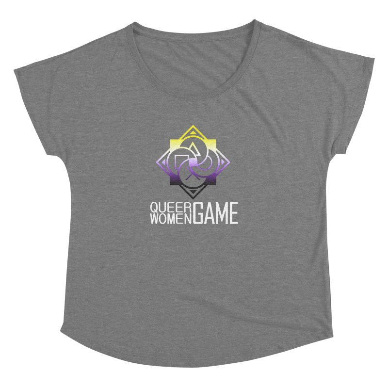 Logo & Text - Nonbinary Pride Women's Scoop Neck by Queer Women Game Loot