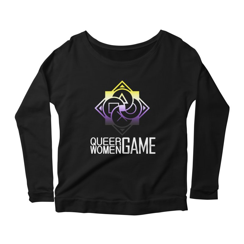Logo & Text - Nonbinary Pride Women's Scoop Neck Longsleeve T-Shirt by Queer Women Game Loot