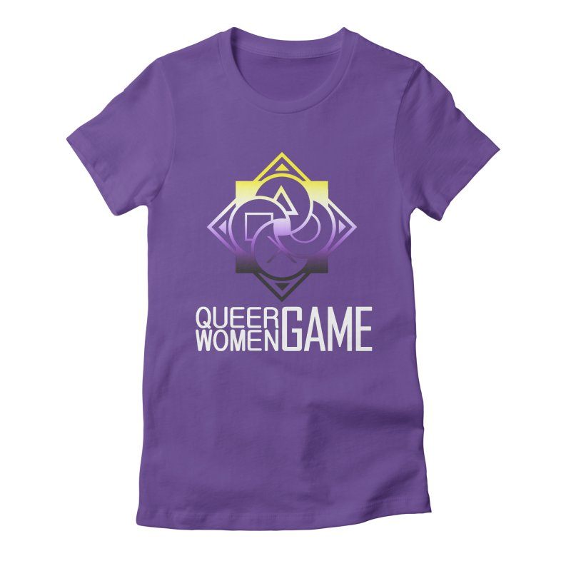 Logo & Text - Nonbinary Pride Women's Fitted T-Shirt by Queer Women Game Loot