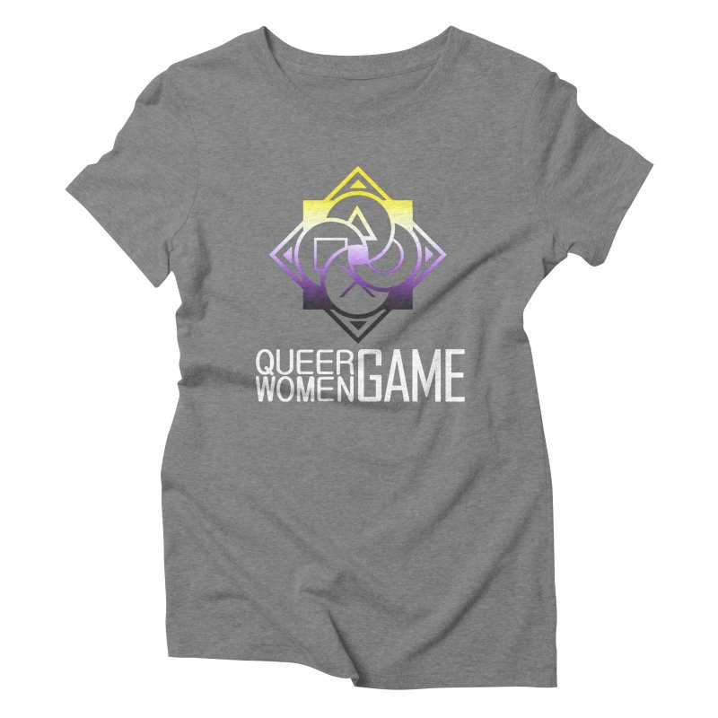 Logo & Text - Nonbinary Pride Women's Triblend T-Shirt by Queer Women Game Loot