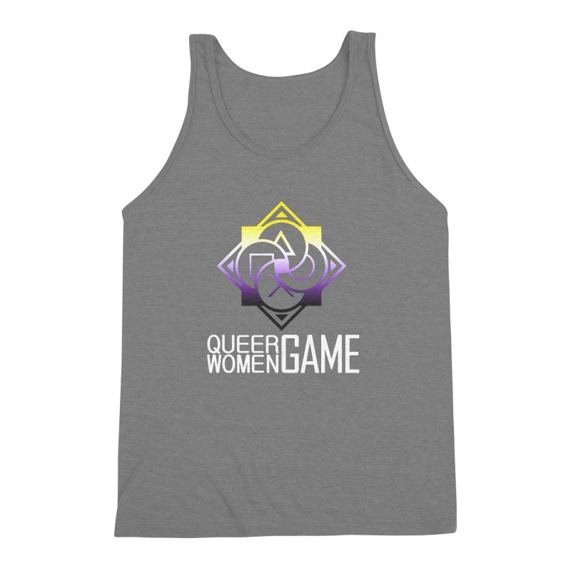 Logo & Text - Nonbinary Pride Men's Triblend Tank by Queer Women Game Loot