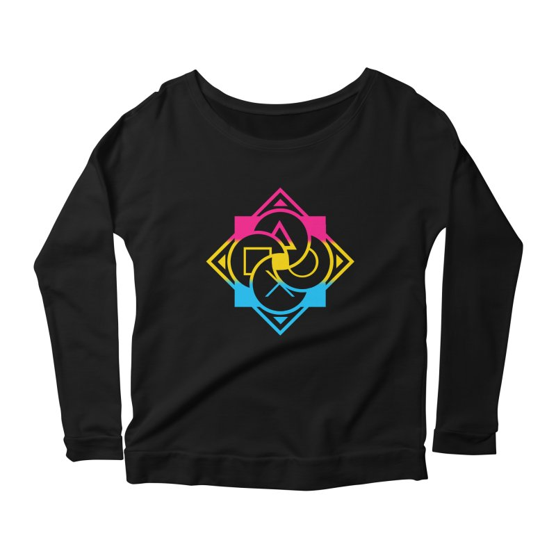 Logo - Pan Pride Women's Scoop Neck Longsleeve T-Shirt by Queer Women Game Loot