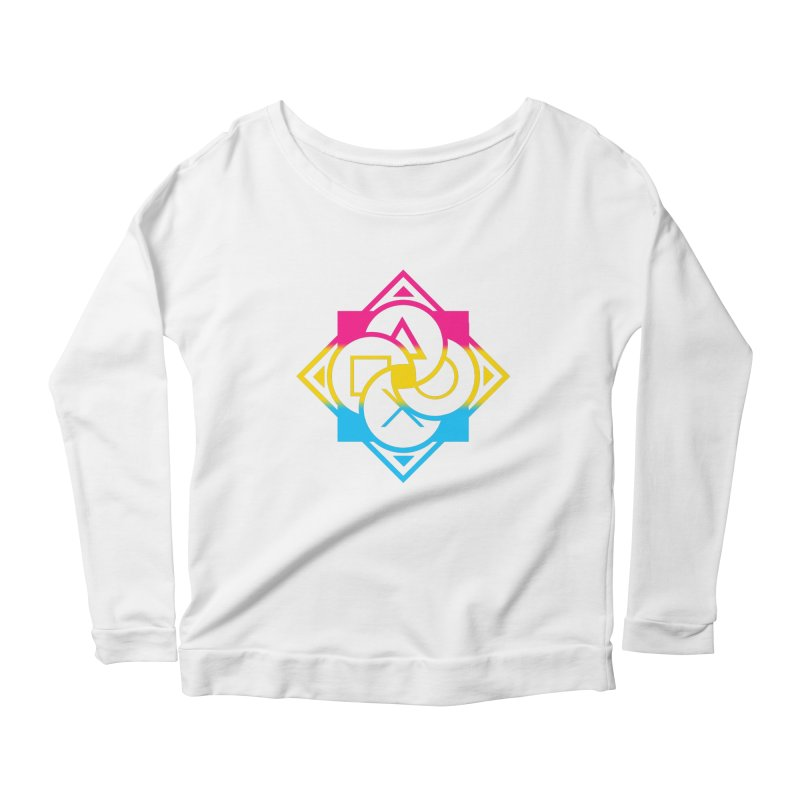 Logo - Pan Pride Women's Scoop Neck Longsleeve T-Shirt by Queer Women Game Loot