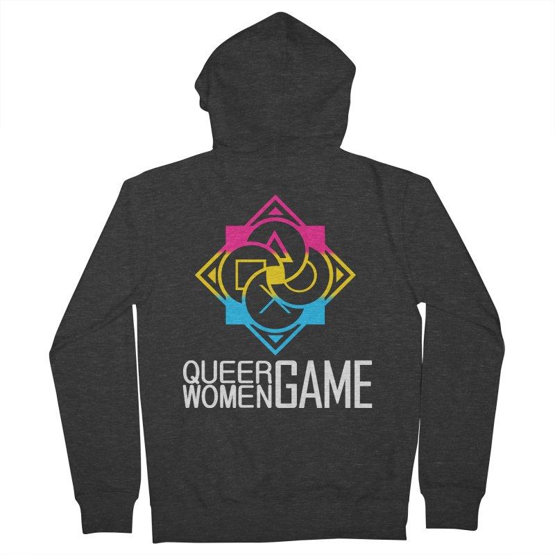 Logo & Text - Pan Pride Men's French Terry Zip-Up Hoody by Queer Women Game Loot