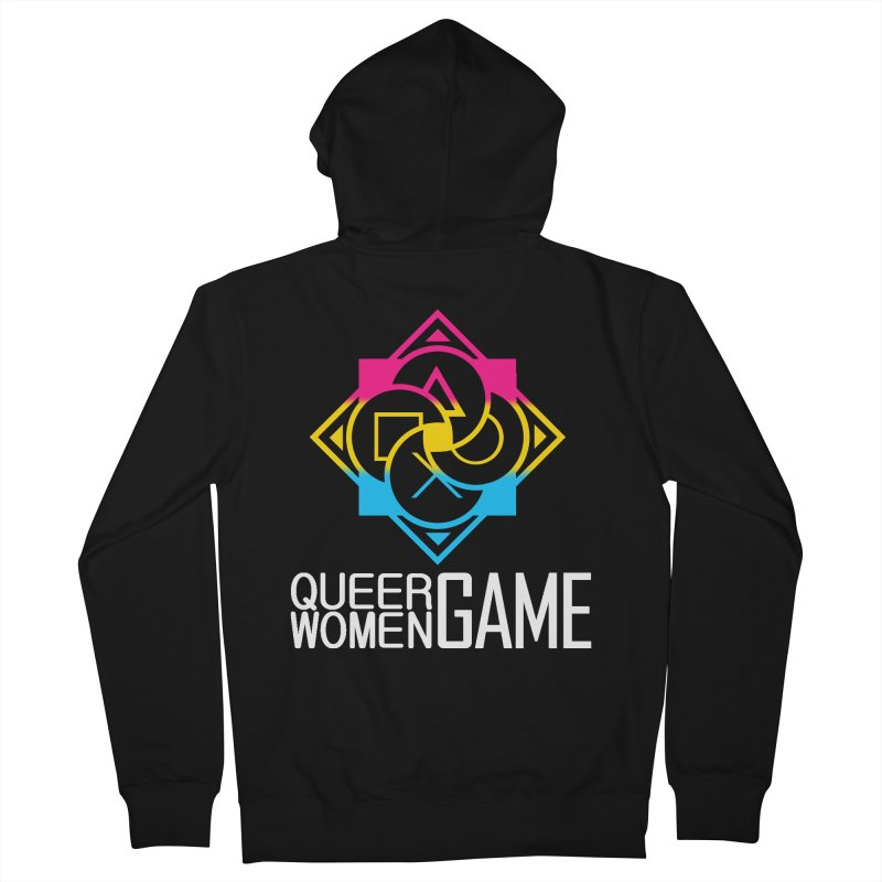Logo & Text - Pan Pride Men's French Terry Zip-Up Hoody by Queer Women Game Loot