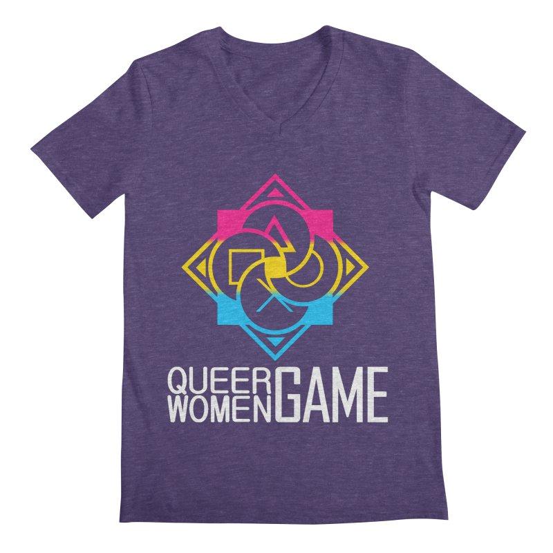 Logo & Text - Pan Pride Men's Regular V-Neck by Queer Women Game Loot