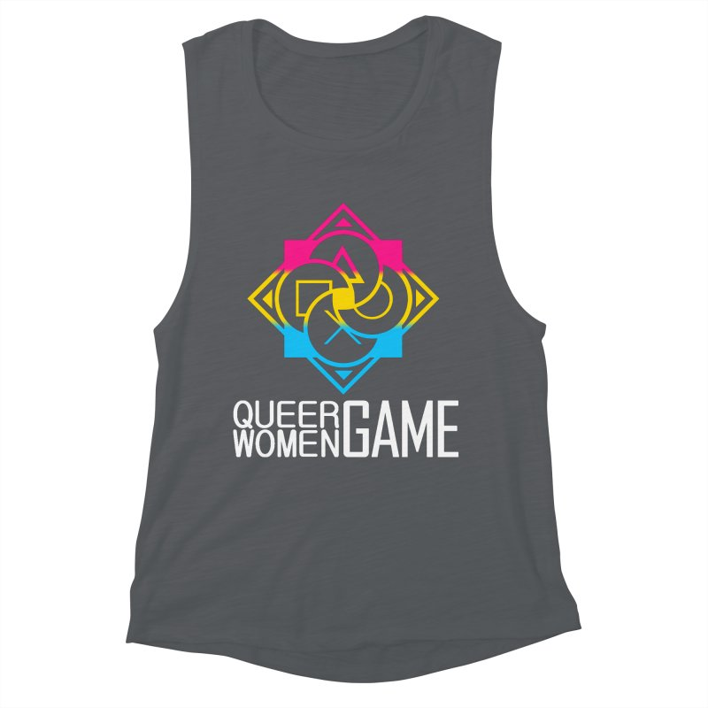 Logo & Text - Pan Pride Women's Muscle Tank by Queer Women Game Loot