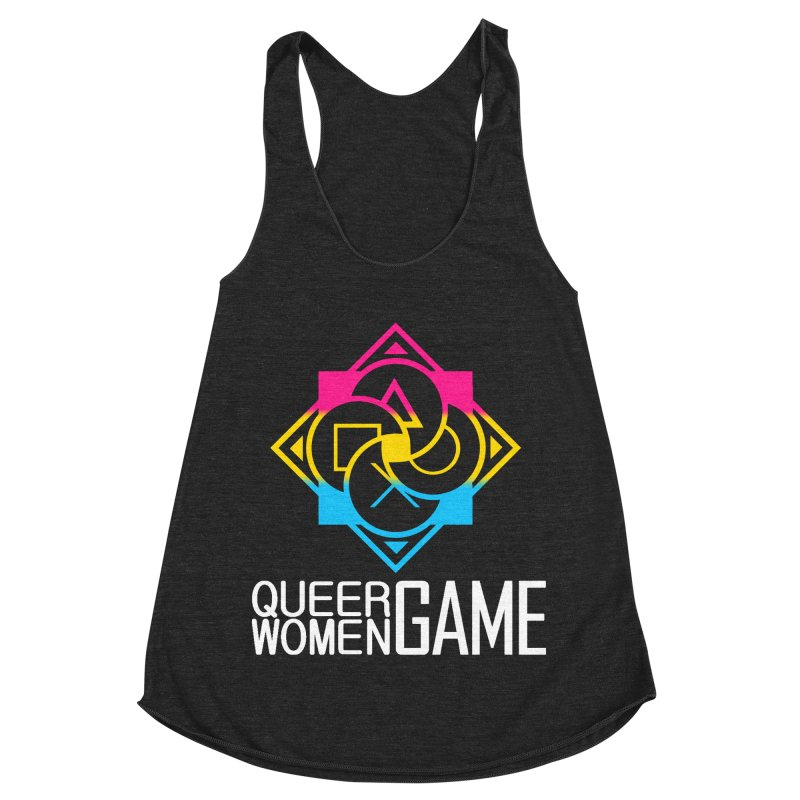 Logo & Text - Pan Pride Women's Racerback Triblend Tank by Queer Women Game Loot