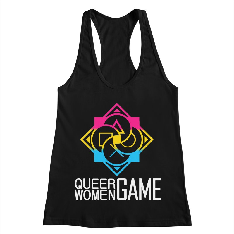 Logo & Text - Pan Pride Women's Racerback Tank by Queer Women Game Loot