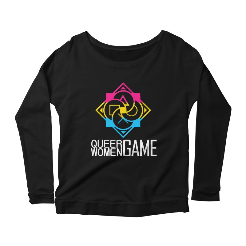 Logo & Text - Pan Pride Women's Scoop Neck Longsleeve T-Shirt by Queer Women Game Loot
