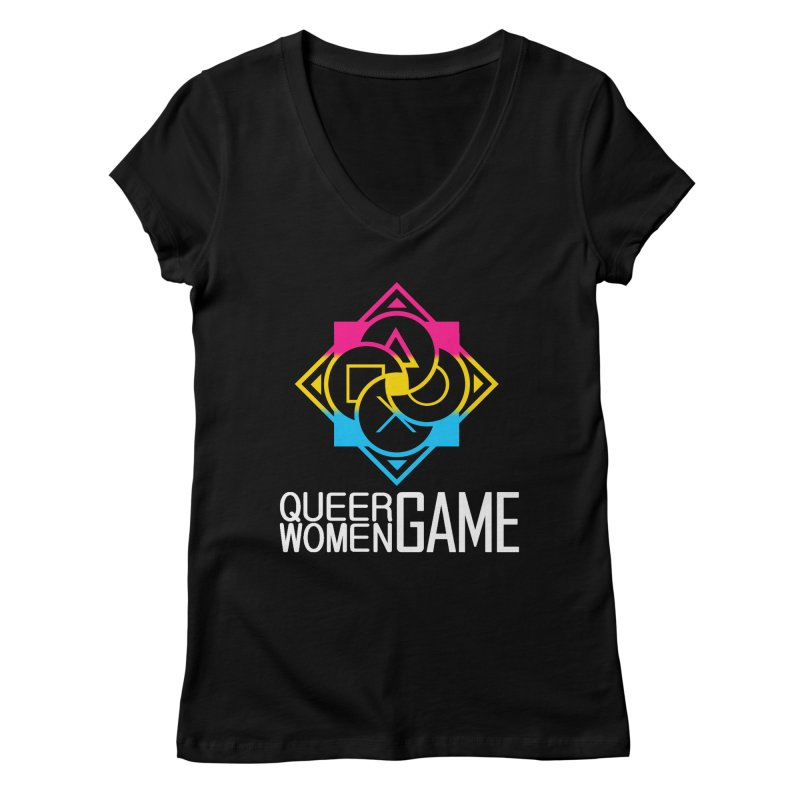 Logo & Text - Pan Pride Women's Regular V-Neck by Queer Women Game Loot