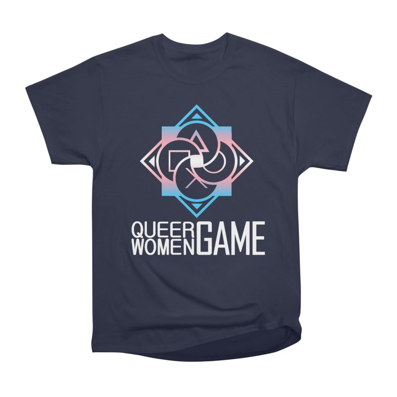 Logo & Text - Trans Pride Women's Heavyweight Unisex T-Shirt by Queer Women Game Loot