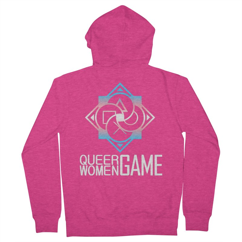 Logo & Text - Trans Pride Women's French Terry Zip-Up Hoody by Queer Women Game Loot