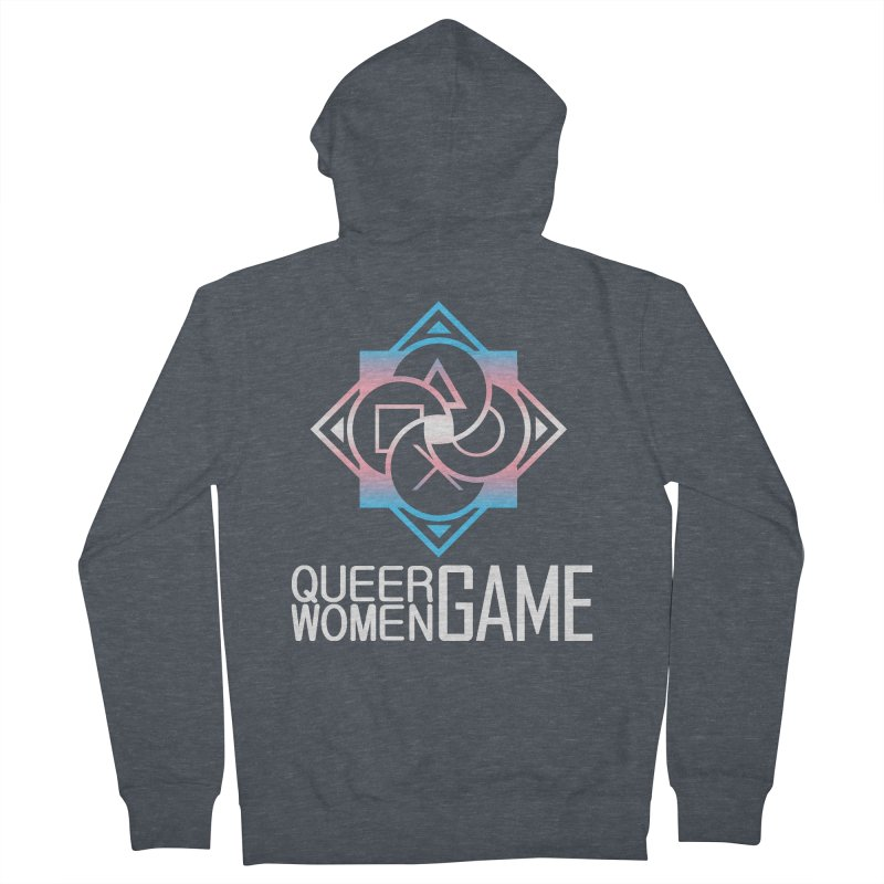 Logo & Text - Trans Pride Men's French Terry Zip-Up Hoody by Queer Women Game Loot