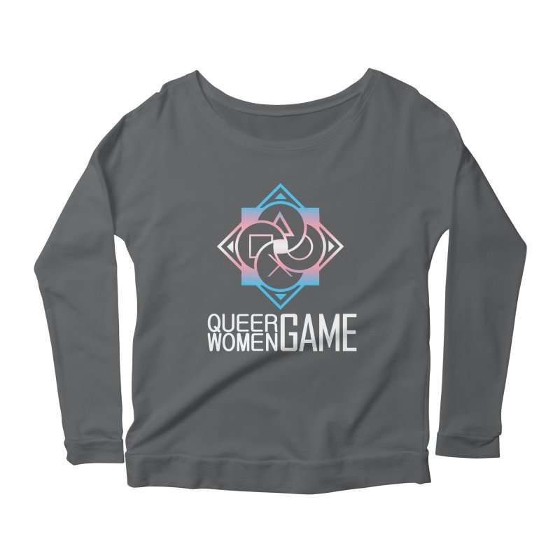 Logo & Text - Trans Pride Women's Scoop Neck Longsleeve T-Shirt by Queer Women Game Loot