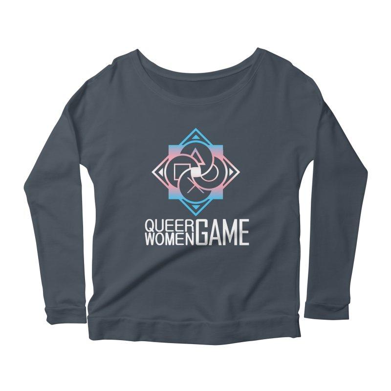 Logo & Text - Trans Pride Women's Scoop Neck Longsleeve T-Shirt by Queer Women Game Loot