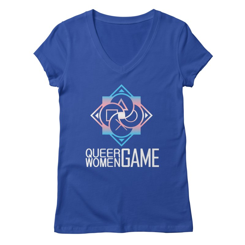 Logo & Text - Trans Pride Women's Regular V-Neck by Queer Women Game Loot