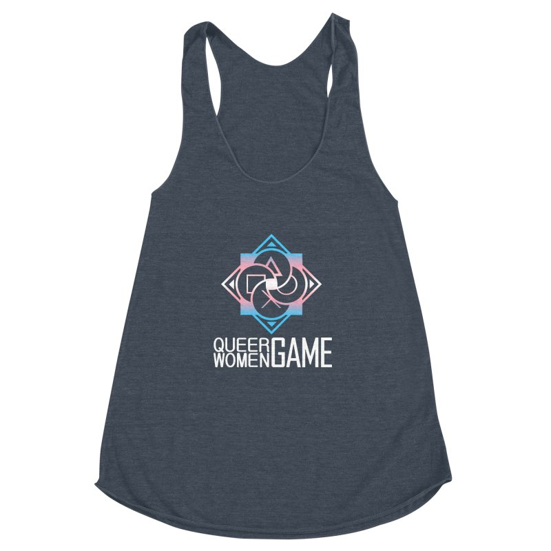 Logo & Text - Trans Pride Women's Racerback Triblend Tank by Queer Women Game Loot