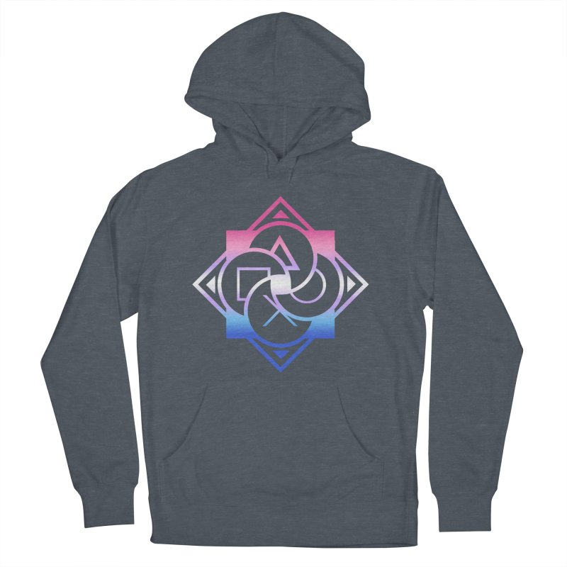 Logo - Bigender Pride Men's French Terry Pullover Hoody by Queer Women Game Loot