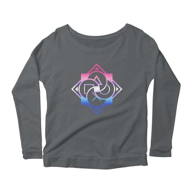 Logo - Bigender Pride Women's Scoop Neck Longsleeve T-Shirt by Queer Women Game Loot