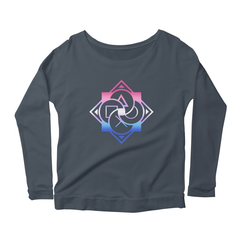Logo - Bigender Pride Women's Scoop Neck Longsleeve T-Shirt by Queer Women Game Loot