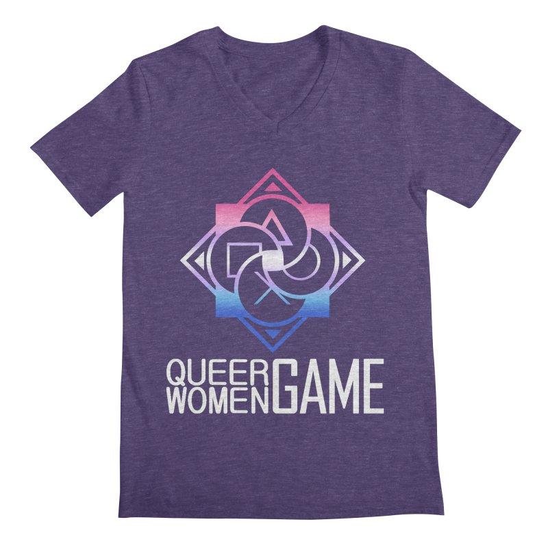 Logo & Text - Bigender Pride Men's V-Neck by Queer Women Game Loot