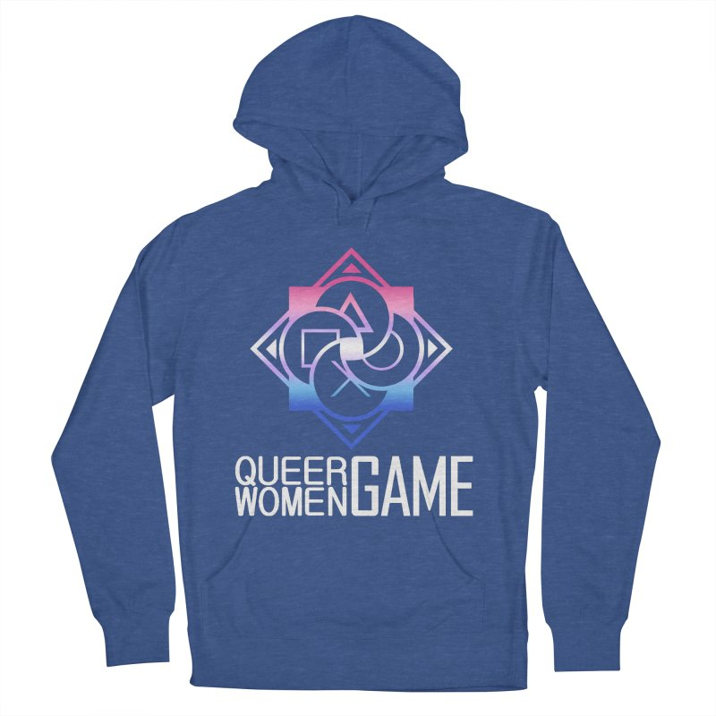 Logo & Text - Bigender Pride Women's French Terry Pullover Hoody by Queer Women Game Loot