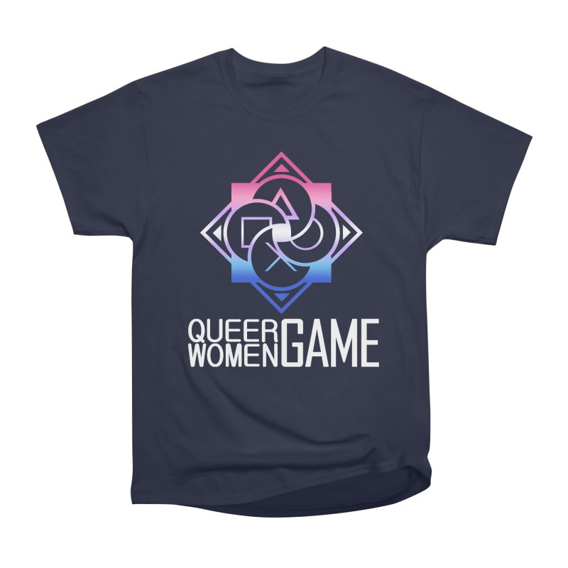 Logo & Text - Bigender Pride Women's Heavyweight Unisex T-Shirt by Queer Women Game Loot