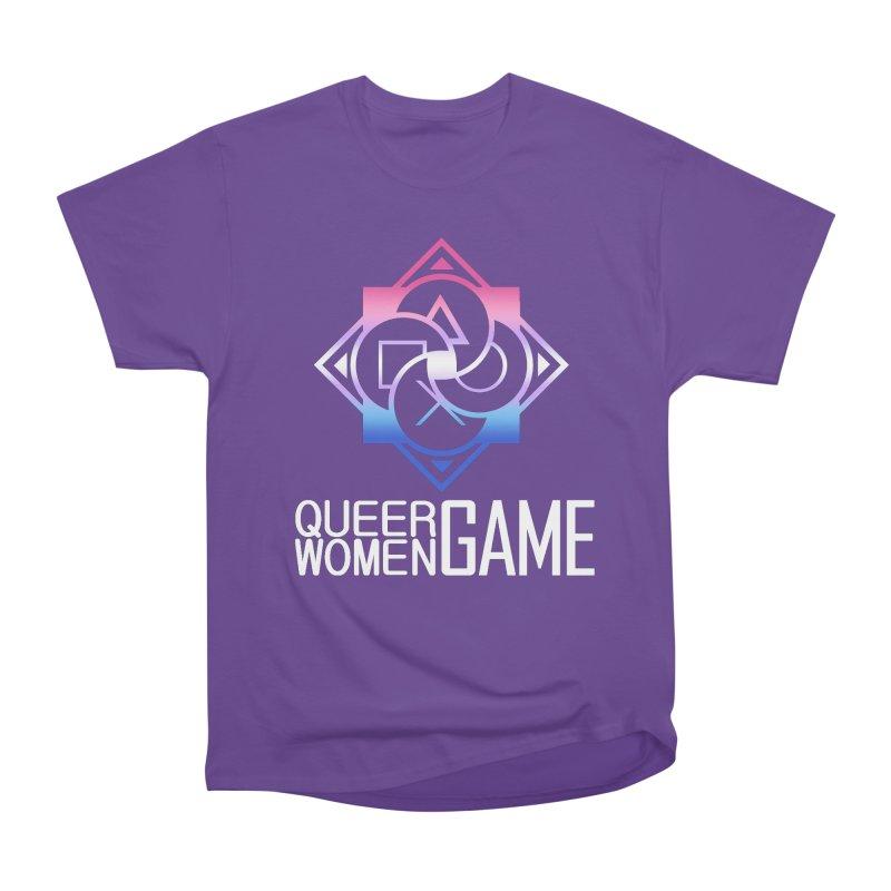 Logo & Text - Bigender Pride Women's Heavyweight Unisex T-Shirt by Queer Women Game Loot