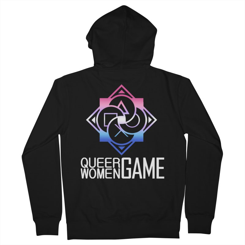 Logo & Text - Bigender Pride Women's French Terry Zip-Up Hoody by Queer Women Game Loot