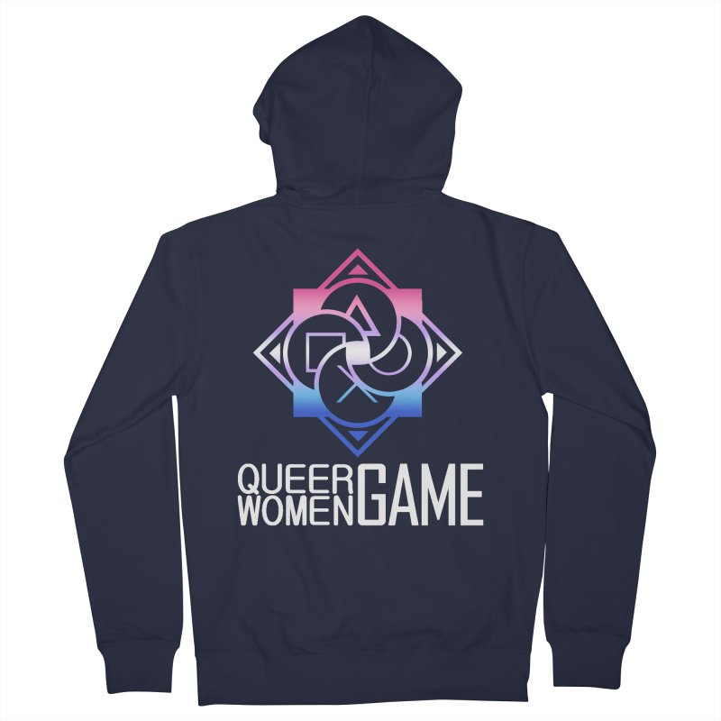 Logo & Text - Bigender Pride Women's French Terry Zip-Up Hoody by Queer Women Game Loot