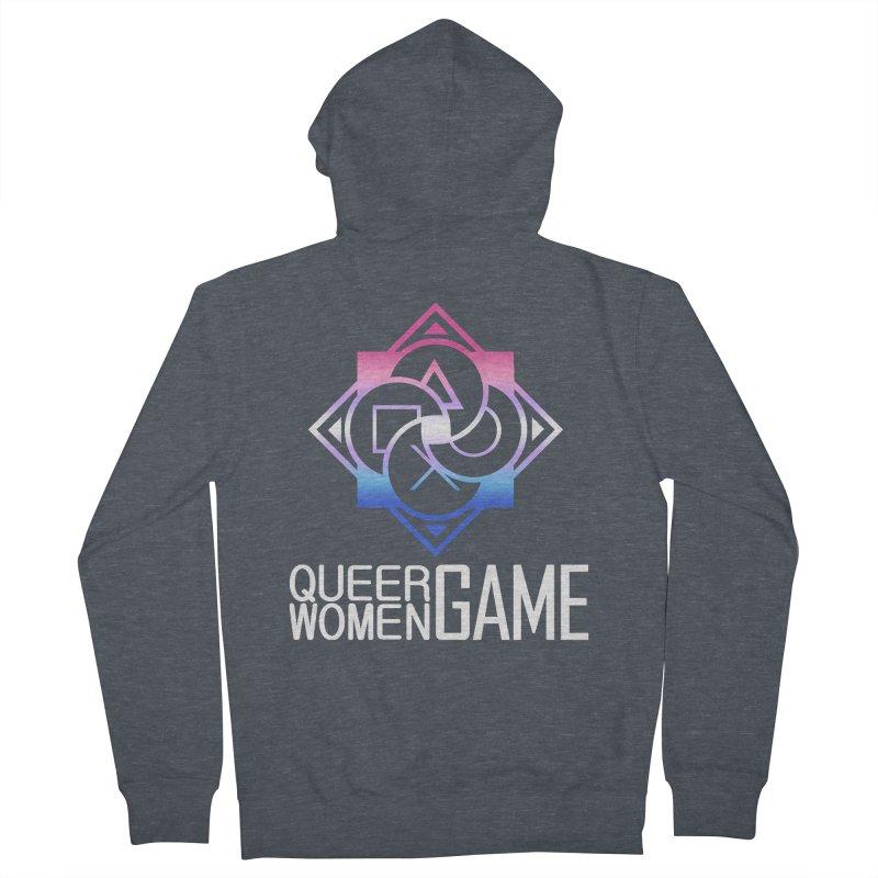 Logo & Text - Bigender Pride Men's French Terry Zip-Up Hoody by Queer Women Game Loot