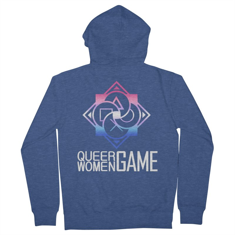 Logo & Text - Bigender Pride Men's French Terry Zip-Up Hoody by Queer Women Game Loot