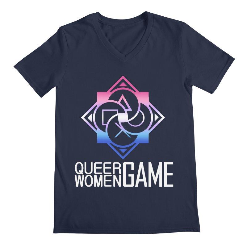 Logo & Text - Bigender Pride Men's Regular V-Neck by Queer Women Game Loot