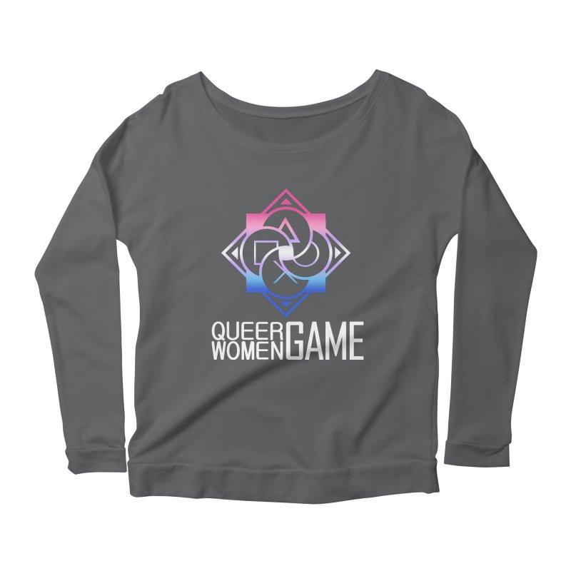 Logo & Text - Bigender Pride Women's Scoop Neck Longsleeve T-Shirt by Queer Women Game Loot