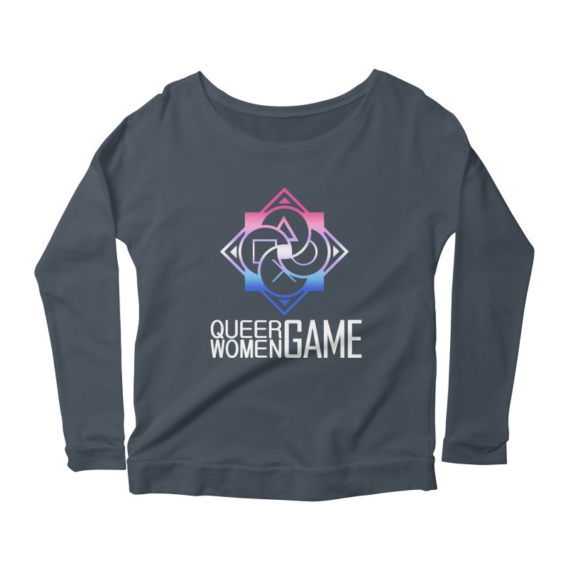 Logo & Text - Bigender Pride Women's Scoop Neck Longsleeve T-Shirt by Queer Women Game Loot