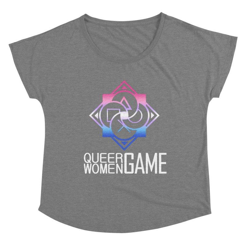 Logo & Text - Bigender Pride Women's Scoop Neck by Queer Women Game Loot