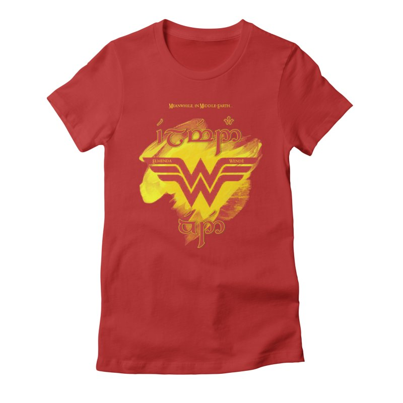 Wonder Woman in Women's Fitted T-Shirt Red by Q101 Shop