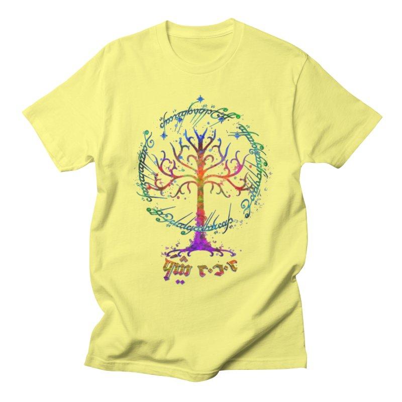 Elvish Rainbow Tree in Men's Regular T-Shirt Lemon by Q101 Shop