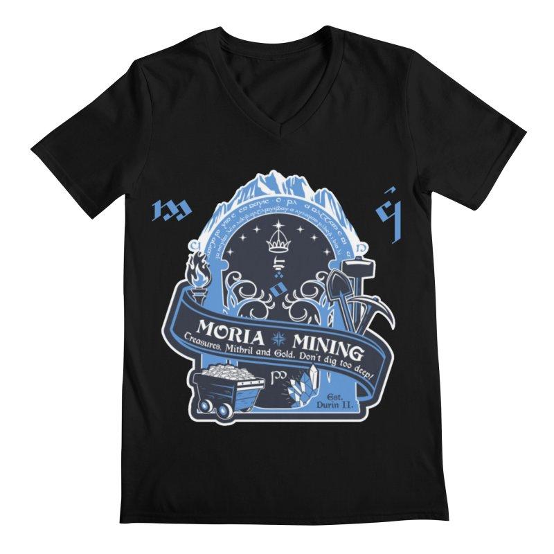 Moria Mining Men's Regular V-Neck by Q101 Shop