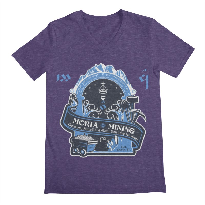 Moria Mining Men's Regular V-Neck by Q101 Shop